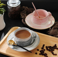 Wholesale coffee mug gift set resale online - New High Quality Creative Marble Ceramic Mug Afternoon Tea Cup Gift Coffee Cup Saucer Set Gold Cups Saucer Set