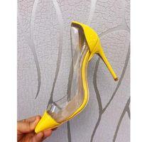 foto de damas gratis al por mayor-Envío gratis foto real de cuero genuino Amarillo charol Pvc Point toe señora zapatos de tacón alto tamaño de bomba 33-43 Ladies Heels 10cm