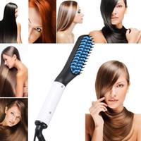 enderezar la máquina al por mayor-Cepillo de plancha de pelo Mujer Hombre Styler Máquina de masaje Barba de cerámica Peine recto Cepillos para alisar el cabello