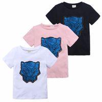 camisa de manga leopardo blanco al por mayor-Estilo de diseño para niños Ropa para niñas Lentejuelas Leopard Head transformar camiseta Camisetas Manga corta Tops 100% algodón Venta al por mayor Azul marino blanco Rosa