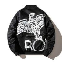 erkek ceketleri toptan satış-Boy Ceket Yeni Streetwear Harajuku Erkekler Kadınlar Bombacı Ceket Baskılı Bayan Erkek Ceket ve Mont Siyah
