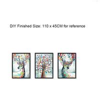 papel pintado auto-adhesivo del árbol al por mayor-Simulación 3D Marco de Imagen Pegatinas de Pared Colorido Deer Tree Tatuajes de Pared DIY Decoración Del Hogar Autoadhesivo Wallpaper Poster Art
