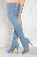 ingrosso jeans sopra-Le donne più nuovi a punta le dita dei piedi sopra il ginocchio Blu Denim Lace-up Gladiatore Stivali posteriore del ritaglio lunghi tacco alto Jean Stivali Abito scarpe
