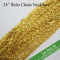 cadena de cable plano al por mayor-100 piezas - collar de cadena de oro Rolo de 24 pulgadas, collar de cadena de cable dorado, cadena de metal con enlace ovalado plano de 3 mm, collar de 60 cm