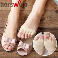 Wholesale finger toes shoes for sale - Group buy horswula Invisible Full Half Finger Socks Womens Cotton Non Slip Toe Padded five finger Socks for Fish Mouth Shoes drop shipping