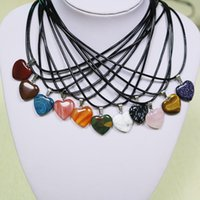 Wholesale heart shaped agate stone resale online - 1pc Charms Natural Stone Pendant Love Heart Shape Crystal Agates Necklace Necklace Pendants mmm