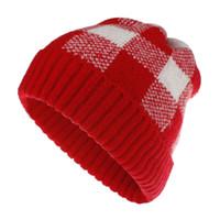 Wholesale crochet cowboy hats for sale - Group buy Women beanie hats plaid color Lady knitting crochet pompom hat fashion winter warm cap accessories