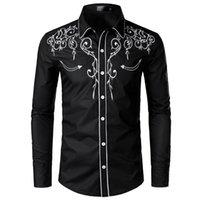 ince sığan kovboy gömlekleri toptan satış-için 2019 Şık Batı Kovboy Gömlek Erkekler Marka Tasarım Nakış Slim Fit Casual Gömlek Modelleri Erkek Düğün Gömlek