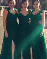 zümrüt rüküş elbise toptan satış-2020 Modern Emerald Green Gelinlik Modelleri Dantel Aplike Yüksek Yarık Tül Dantelli Custom Made Ucuz Düğün Balo Örgün Önlükler