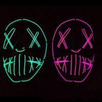 mavi kırmızı filmler toptan satış-LED Cadılar Bayramı Kostüm Partisi Neon Maskeleri EL Hattı Maskesi Mavi Kırmızı Lüminesans Hatları Film Tema Terör Aydınlık Yüz Parçası 27lsD1