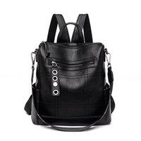 kadınlar için moda sırt çantası deri toptan satış-Sırt çantası Kadın Moda Vahşi Anne Koyun Deri Çanta Yumuşak Deri Omuz Backbag Su Geçirmez Anti-hırsızlık Sırt Çantaları Womens