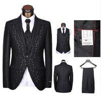 boda blanco crema negro al por mayor-2019 Últimos Diseños de Pantalones de Abrigo de diamantes de Imitación a medida Traje de Hombre blanco negro Bordado Trajes de Boda Para Hombres Novios Esmoquin 3 Unidades