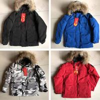 çocuklar için uzun ceket toptan satış-Gerçek Kürk Kapşonlu Aşağı Ceket Kalın WindbreakerA11080 ile Kış Kaz tüyü Boys Kapşonlu Kanada Aşağı Arctic Parka Çocuklar Mid uzun Kış Coat