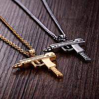 Wholesale gun heart pendant for sale - Group buy Uzi Gold Chain Hip Hop Long Pendant Necklace Men Women Fashion Brand Gun Shape Pistol Pendant Maxi Necklace Stainless Steel HIPHOP Jewelry