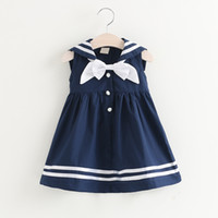 Wholesale military style clothing resale online - INS hot sell Children s Navy Skirt baby girls cute summer dress with bow tie children boutiques clothing top quality