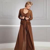 makarna ceketi toptan satış-Vintage Şifon Pantolon Anne Için Gelin V Yaka Suits Spagetti Parti Akşam Düğün Anneler Için Ceket Ile Konuk Elbise