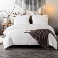 edredón de algodón puro al por mayor-Jacquard Sirsaca edredón hojas cubierta de la cama cubierta de almohadas de algodón puro Establece tres piezas de sarga de edredón a los conjuntos de artículos de cama de EE.UU. reina Rey