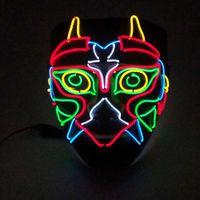 ingrosso maschera di gufo del gufo-EL Luce fredda maschera luminosa per Halloween Horror Masquerade Performance Prop Owl Style Glowing Mask