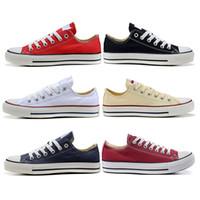 siyah pembe kadın üstleri toptan satış-Converse Tasarımcı kanvas ayakkabılar mens womens düşük yüksek üst siyah pembe beyaz kırmızı mavi Yeni unisex Moda casual koşu sneakers ayakkabı boyutu 35-44