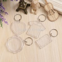 Wholesale insert photo key chains for sale - Group buy 600pcs Round Heart Rectangle Square Plastic Acrylic Keychains Blank Photo Frame Keyrings DIY Insert Photo Key Chains
