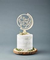 adorno de madera al por mayor-Globe Travel Adventure Cake Topper - Cake Topper Wedding -Wooden - Viajaría por el mundo por ti con letras a mano