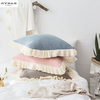 Wholesale blue ruffle bedding for sale - Group buy Nordic Style Knitted Cushion Cover Cotton Pillow Cover With Ruffles Decorative Pillows Without Filler For Sofa Bed Car Home