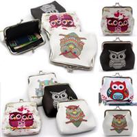 sevimli baykuş cüzdanları toptan satış-Pop2019 Sevimli Kadın Deri Baykuş Fermuar Cüzdan Kızlar Debriyaj Kart Para Tutucu Çanta Çanta Baykuş Baskı Mini Çanta