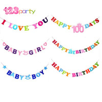 Wholesale baby girl bunting resale online - 123 Party Baby Girl Boy I Love You Paper Fabric Banners Wedding Bunting Decor Birthday Party Baby Shower Garland Decoration