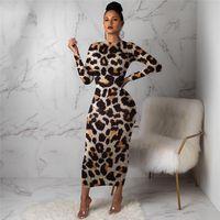 vestidos casuales estampado de leopardo al por mayor-Piel de leopardo diseñador para mujer vestidos casuales flaco de moda de manga larga vestidos de mujer otoño del resorte mujeres Ropa