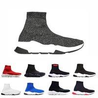 nuevas botas de velocidad al por mayor-2019 New Paris Luxury Sock Shoe Speed Shoes Zapatillas de deporte Speed Trainer Race Runners Shoes Hombre Mujer Botas deportivas Envío gratis