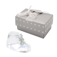 Wholesale shoes favors for sale - Group buy Christening Return Gifts Choice Crystal Baby Shoe Baptism Souvenir Baby Shower Favors Birthday Party Gifts WB83