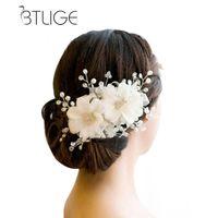 gelin saç aksesuarları dantel çiçekleri toptan satış-BTLIGE Saç Süsler Düğün Saç Aksesuarları Romantik Dantel Hairwear Çiçek Düğün Gelin Aksesuarları Gelin