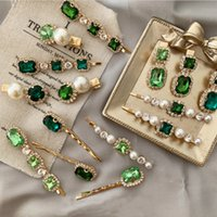 Wholesale hair accessories clip vintage for sale - Group buy 12 styles Korea Vintage Emerald hair pins Geometrical Rhinestones hair clip For Women Girls hair accessories Barrette GJJ172