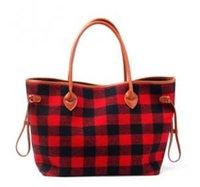 rote flanell frauen großhandel-Frauen-Einkaufstasche Schwarze und rote karierte Handtaschen Flanell-Weihnachtsmode-Handtasche mit Kunstledergriff und Unterseite