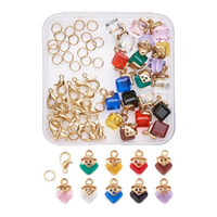 Wholesale brass jewelry findings resale online - 1 Box DIY Jewelry Finding Glass Cube Charms with Alloy Findings Brass Lobster Claw Clasps Jump Rings Golden Mixed Color F60
