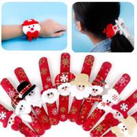 Wholesale flannel bracelet resale online - Christmas Slap Bracelet Flannel Snowman Deer Santa Slap Wristhand without light Xmas Kids Party Toys Children Christmas Toys
