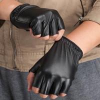 Wholesale bamboo tactical resale online - New Fashion High Quality Unisex Women Men Half Finger Genuine Leather Motocycle Fingerless Luvas Tactical Sheepskin Gloves S75