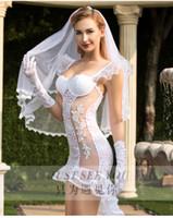 yüksek moda cosplay toptan satış-Gelinlik See-Through Cosplay Yüksek Kalite kadın Thong İç Aşırı Günaha Seksi Net Stocking Moda Üniforma 4 Seksi Set