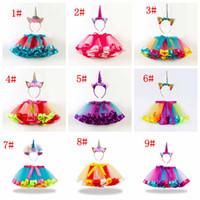 Wholesale baby girl clothing winter for sale - Baby girls rainbow color tutus skirts unicorn headband set babies lovely clothing set infant toddler holidays dress up