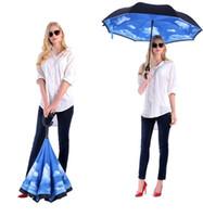 tela paraguas lluvia al por mayor-Paraguas invertido al por mayor al aire libre a prueba de viento de adentro hacia afuera de doble capa de tela de nylon C-Hook Hands Sun Rain plegables paraguas inversos