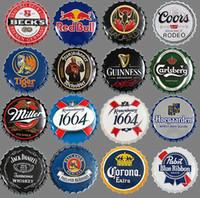 vintage teneke bira işaretleri toptan satış-Yaratıcı Retro Bira Şişe Kapağı Dekoratif Metal 35cm Vintage Metal Tabela Bar Pub Eğlence odası Ev Duvar Dekor Retro Metal Sanatı Posterler (39Styles)