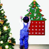 artesanía de fieltro diy al por mayor-Navidad 24 días calendarios de cuenta atrás DIY del árbol del fieltro de Navidad arte hecho a mano colgar de la pared de la decoración de Navidad Suministros niños del regalo del cabrito