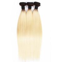 bakire saç demetleri 613 ombre toptan satış-3 Paketler Renkli T 1B 613 Sarışın Bakire Saç İpeksi Düz Ombre Siyah Sarışın Perulu Hint Saç Dokuma Paketi öpücük Saç Moda Fiyatları