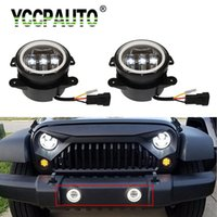 Wholesale led halo light rings for sale - Group buy 2Pcs quot Inch W Round Led Fog Lights For Wrangler JK TJ LJ K With White Halo Ring DRL Off Road vehicle Fog Lamps