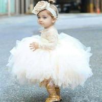 vestidos de tutu para bebés de primer cumpleaños al por mayor-Vestidos para bebé ropa del bebé del niño de las muchachas de flor de bautismo con las mangas largas cumpleaños de los niños del desgaste del tutú de encaje balón Vestidos vestido de primera comunión
