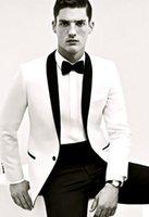 costumes de mariage mens noir blanc achat en gros de-Nouveau Mode Un Bouton Blanc et Noir Tuxedos Groom Groomsmen châle Lapel Meilleur Homme Blazer Costumes De Mariage Pour Hommes (Veste + Pantalon + Cravate)