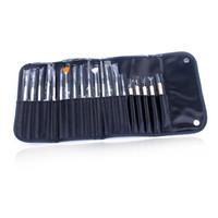 tırnağara sanat fırçaları araçları nokta toptan satış-20 adet Nail Art Fırçalar Set UV Jel Lehçe Sanat Tasarım Resim Çizim Süsleyen Builder Kalem Nail Art Salon Aracı Kitleri ile Siyah Çanta