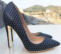 marineblaue orange fersen großhandel-2019 neuen Stil Navy Blue Women's Red Bottom High Heel Schuhe 8cm 12cm 10cm Größe 45 Cusp Fine Heel Single Schuhe Nachtclub Braut Hochzeit