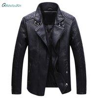 ingrosso abbigliamento metrosexual-Grandwish Winter Men Motorcycle Faux Giacca di pelle uomo metrosexual nero vestito di pelle moda Colletto giacche Abiti maschili, DA990