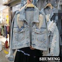 saçak ceketleri toptan satış-Yeni Bahar ve Sonbahar Kot Ceket kadın Açık Mavi Yapmak Eski Yıkanmış Rhinestone Saçak Kısa Denim Ceket Öğrenciler ceketler